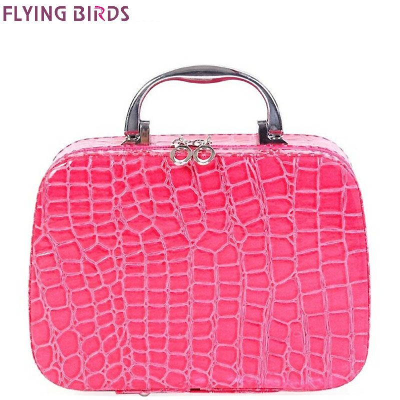 FLYING BIRDS Cosmetic Bags Box Makeup Bag women cosmetic cases Beauty Case Travel purse Jewelry Display Case fashion LM3601fb