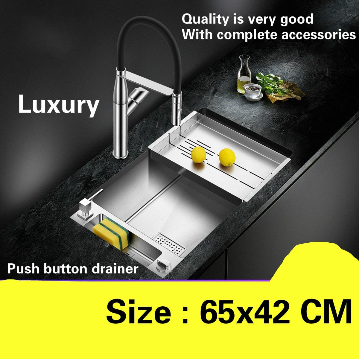 Free shipping Household luxury fashion mini  kitchen manual sink single trough dish 304 stainless steel hot sell 650x420 MM
