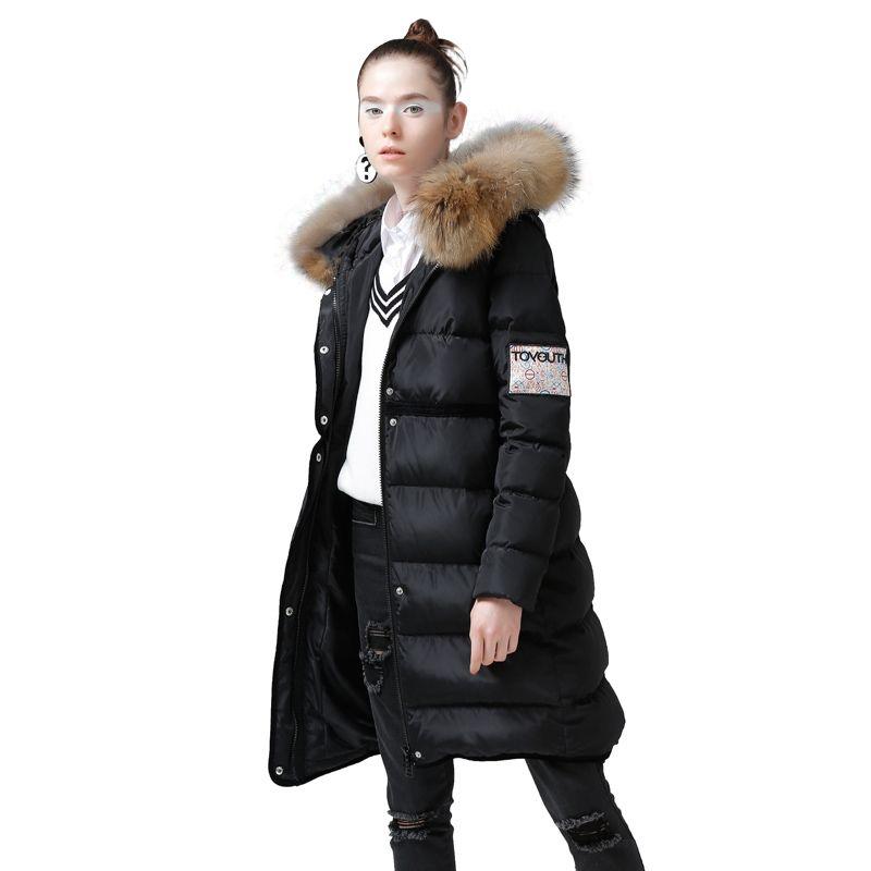 Toyouth 2017 Winter Charakter Druck Ente Unten Mäntel Hoodies Lange Unten Mäntel Weibliche Stickerei Jacke