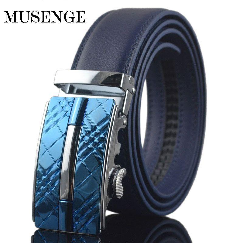 MUSENGE Ceinture En Cuir Ceinture Hommes Designer Ceintures Hommes Haute Qualité Cinturones Hombre Ceinture Homme Cinto Sangle Automatique Boucle Bleu