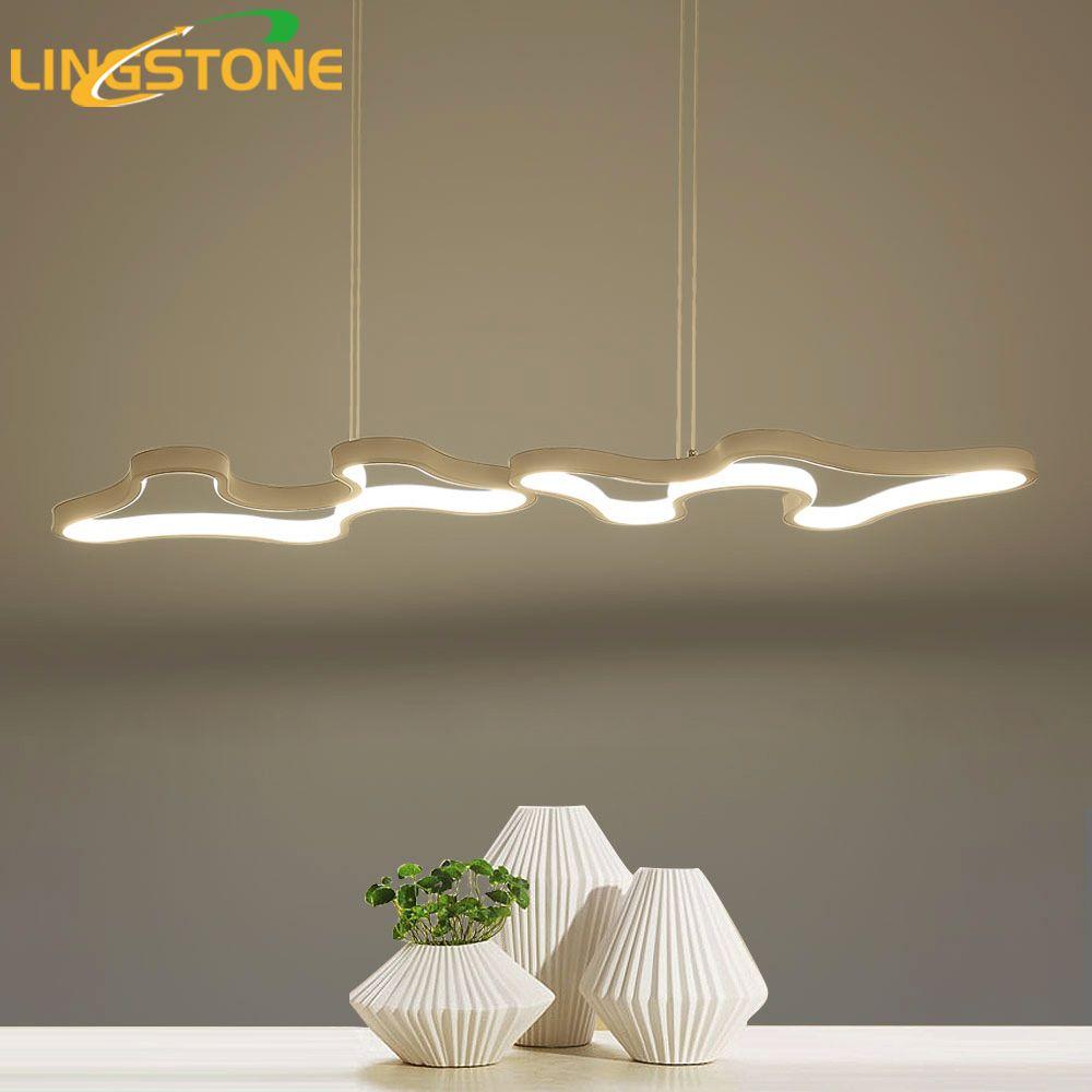 Pendentif Lumières Led Lampe Moderne Hanglamp En Aluminium Télécommande Gradation Suspendus Luminaire Salon Cuisine Restaurant