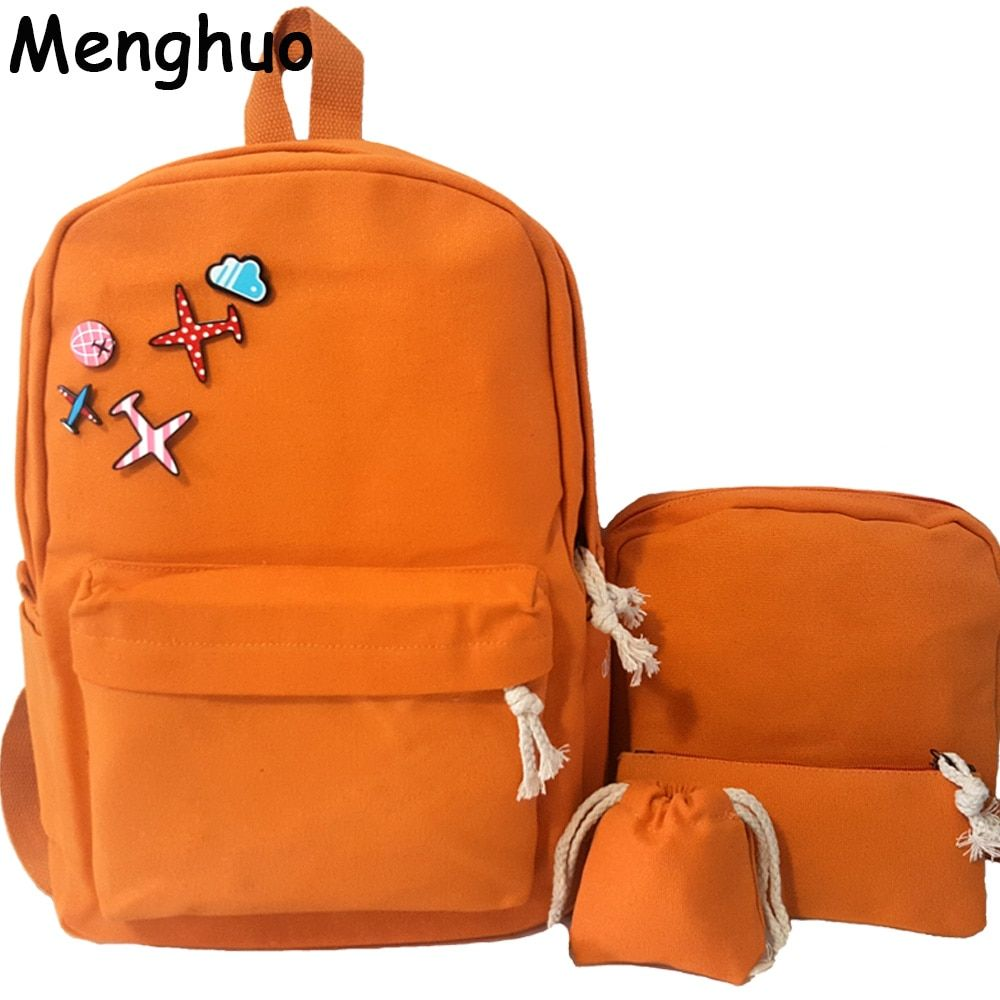 New 4Pcs/Set Korean Casual Women Backpacks Canvas Book Bags Cute Plane Badge Schoolbag for Teenage Girls Composite Bag mochila