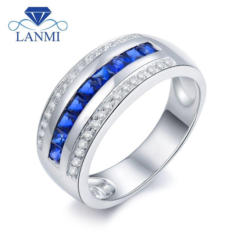 Fester 14Kt Weißes Gold Männer Band Natürliche Blauen Saphir Diamant-verlobungsringe SR0009A
