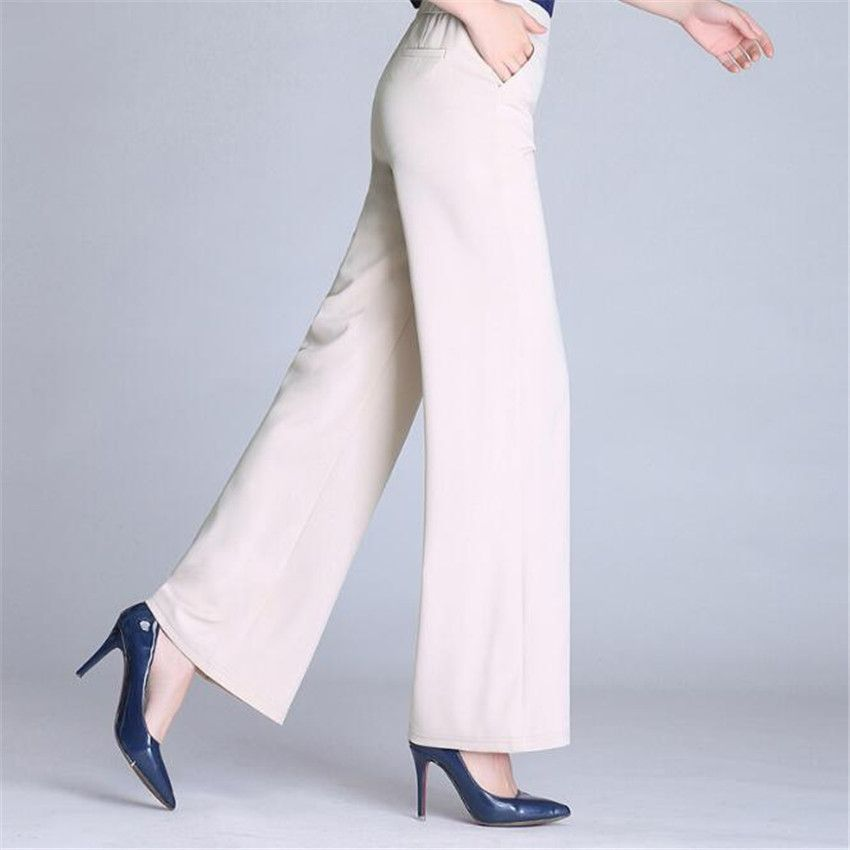 MLCRIYG 2018 Summer Elastic force Loose waist Broad leg Straight trousers girl