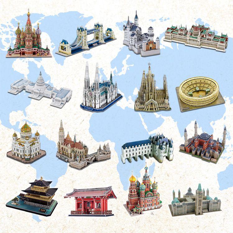 Hot vente 3d difficile architecture Jigsaw puzzle modèle de papier bricolage apprentissage et éducatifs populaires jouets pour garçons et enfants et adultes