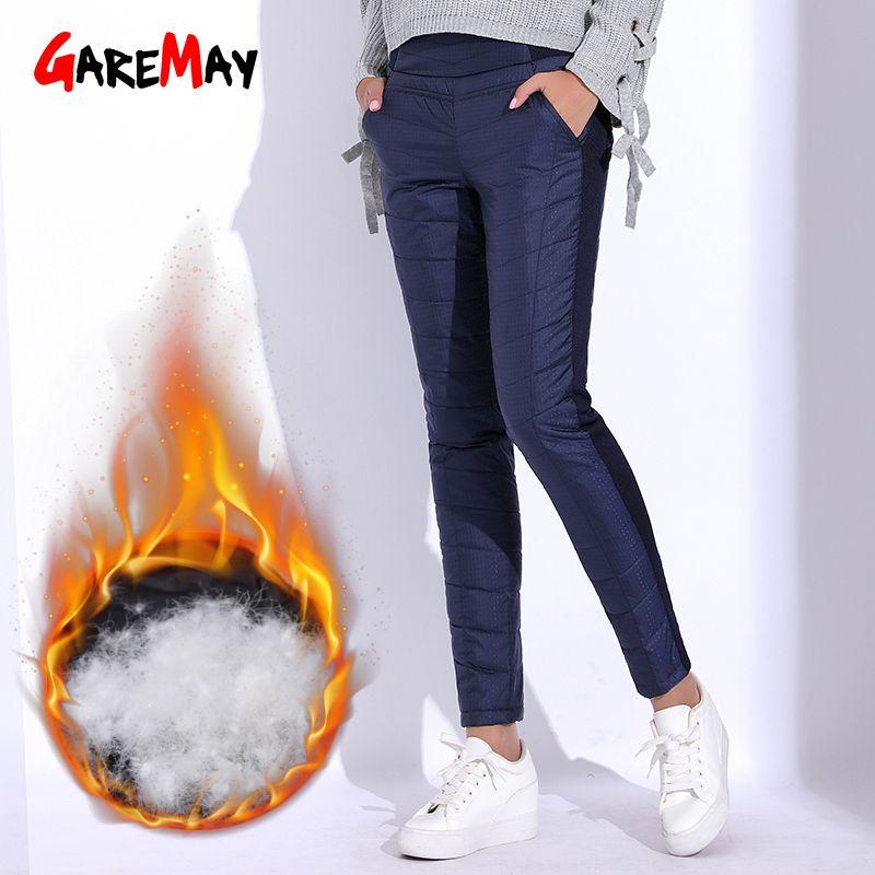Winter Pant for Women High Waist Elastic <font><b>Elegant</b></font> Casual Down Pants Women's Warm Velvet Pencil Classic Pants Thicken GAREMAY
