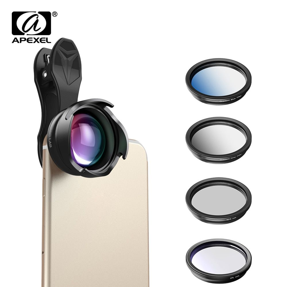 APEXEL phone camera Lens 2.5X telephoto Portrait bokeh lens with CPL Gradual filter ND filter for android ios smartphone 70mm
