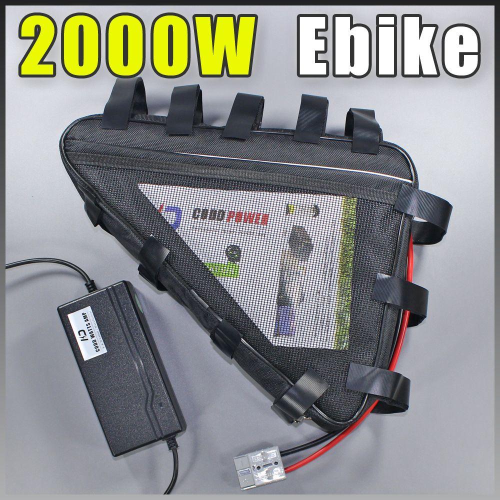 E BIKE 52 V 30AH Elektrische fahrrad-lithium-batterie Lange lebensdauer dreieck Akku Kompatibel 48 V Freies Zoll UNS EU RU