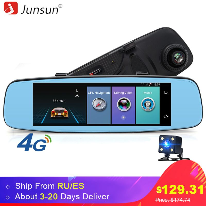 Junsun A880 4G ADAS Car DVR Camera Video recorder <font><b>mirror</b></font> 7.86 Android 5.1 with two cameras dash cam Registrar black box 16GB