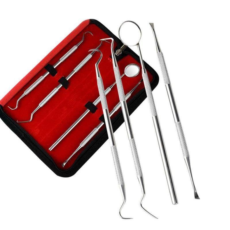 Stainless Steel Dentistry Tools 4pcs Dentist Set Dental Probes Oral Care Tool Mirror Scraper  Teeth Whitening  Clean Tool Set A6