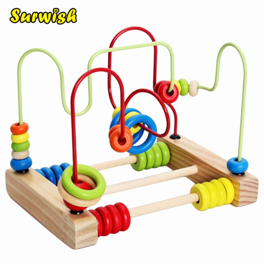 Surwish Counting Circles Bead Abacus Wire Maze Roller Coaster Wooden Montessori Educational Toy for Baby Kids Chilrden