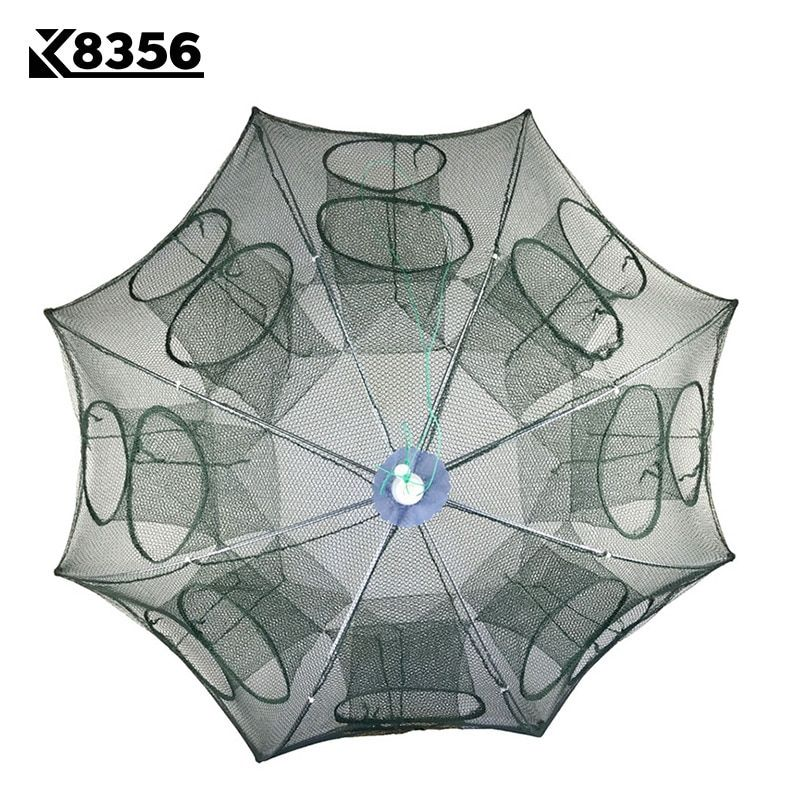 K8356 Strengthened 4-16 Holes Automatic Fishing Net Shrimp Cage Nylon Foldable Crab Fish With Zipper Trap Cast Net Cast Fish Net