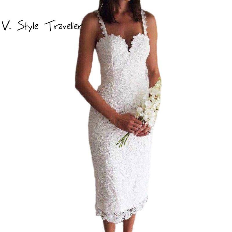 Style d'été Blanc Noir Dentelle Robe V Cami Moulante Sexy pas cher vêtements chine robes de festa mujer Casual bureau Midi robes