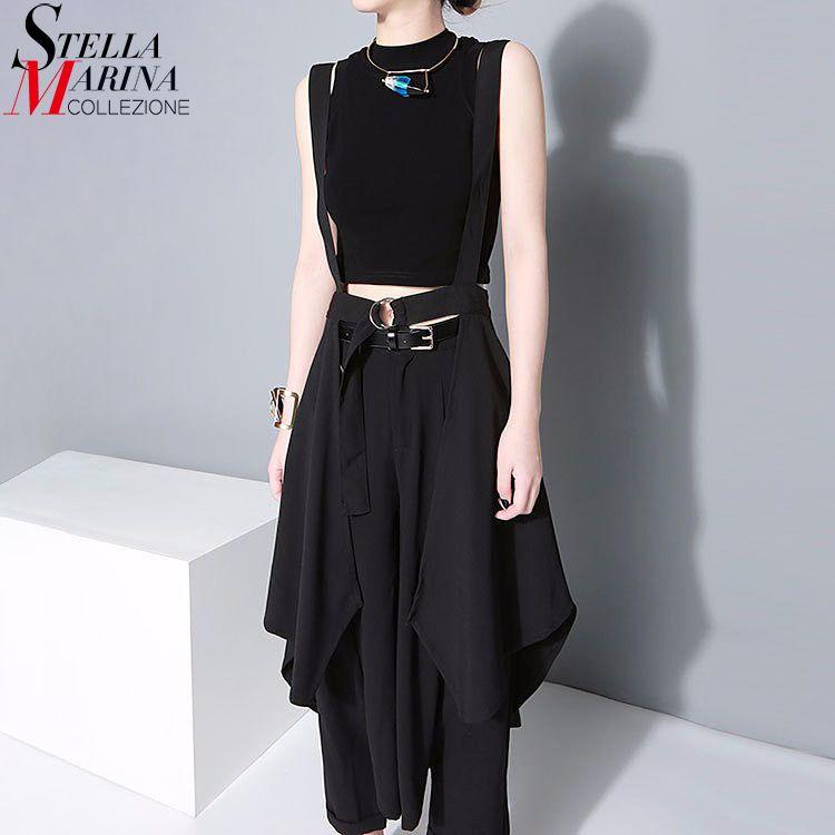 2018 Coréenne Style Femmes Noir Maxi Jupe Réglable Taille Avec ceinture et Bretelles En Mousseline de Soie Jupe Femelle Irrégulière Soleil Jupe Femme 1431