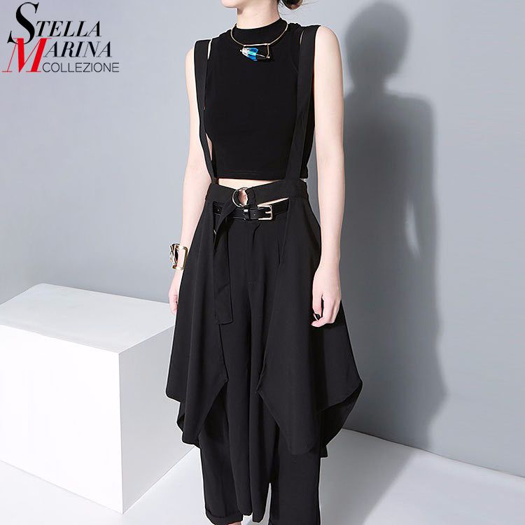 2018 Korean Style Women Black Maxi Skirt Adjustable Waist With Belt & Straps Chiffon Skirt Female Irregular Sun Skirt Femme 1431