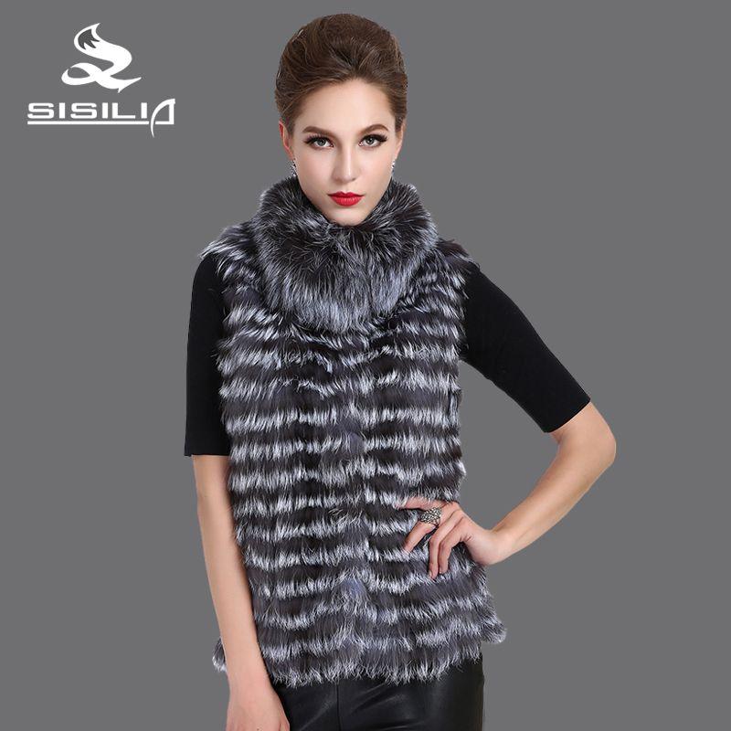 SISILIA 2016 New Women's Silver Fox Vest Natural Fur Jacket Short Style Female Fur Vest Genuine Fur