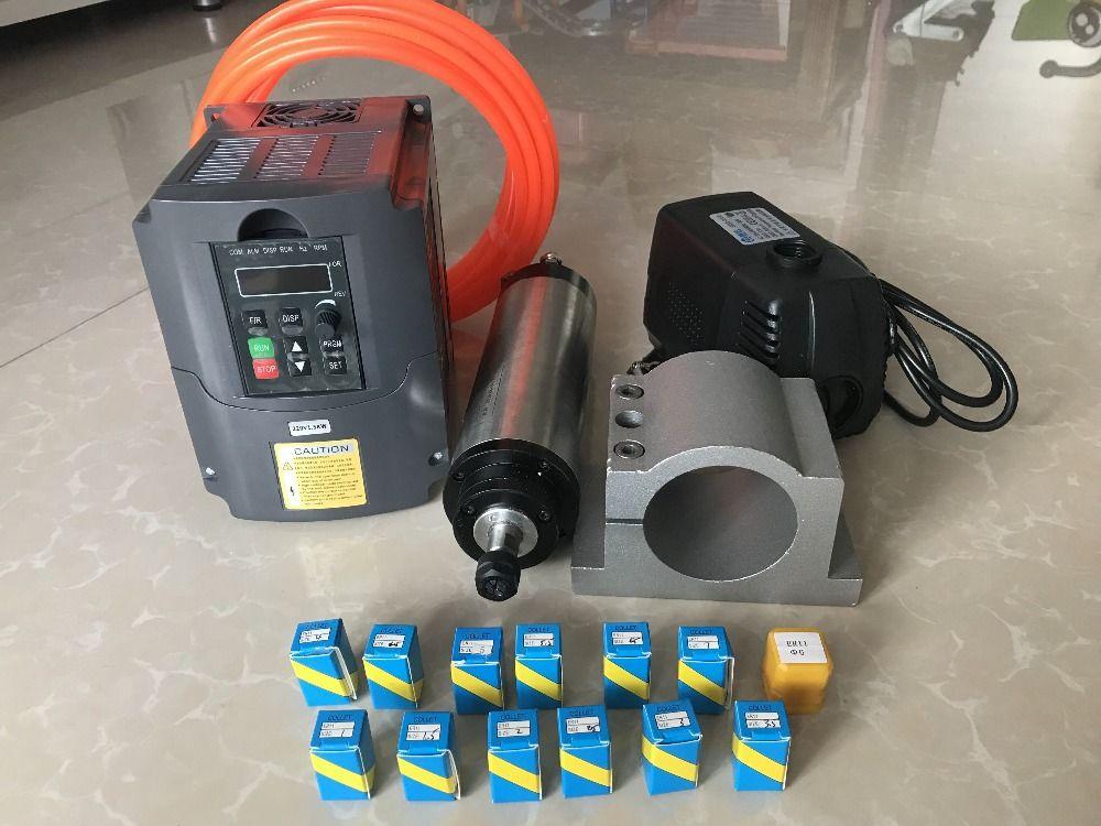 2.2KW Spindle CNC Router Spindle Motor ER20 Milling Spindle Kit + 2.2kw Inverter / Vfd+ 80mm Clamp Water Pump +13pcs ER20