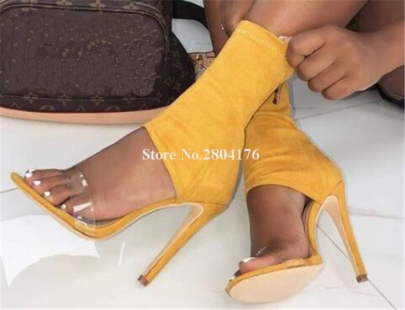 Women Fashion Open Toe Suede Leather One PVC Strap Thin Short Boots Cut-out Ankle Bandage High Heel Ankle Boots Dress Shoes