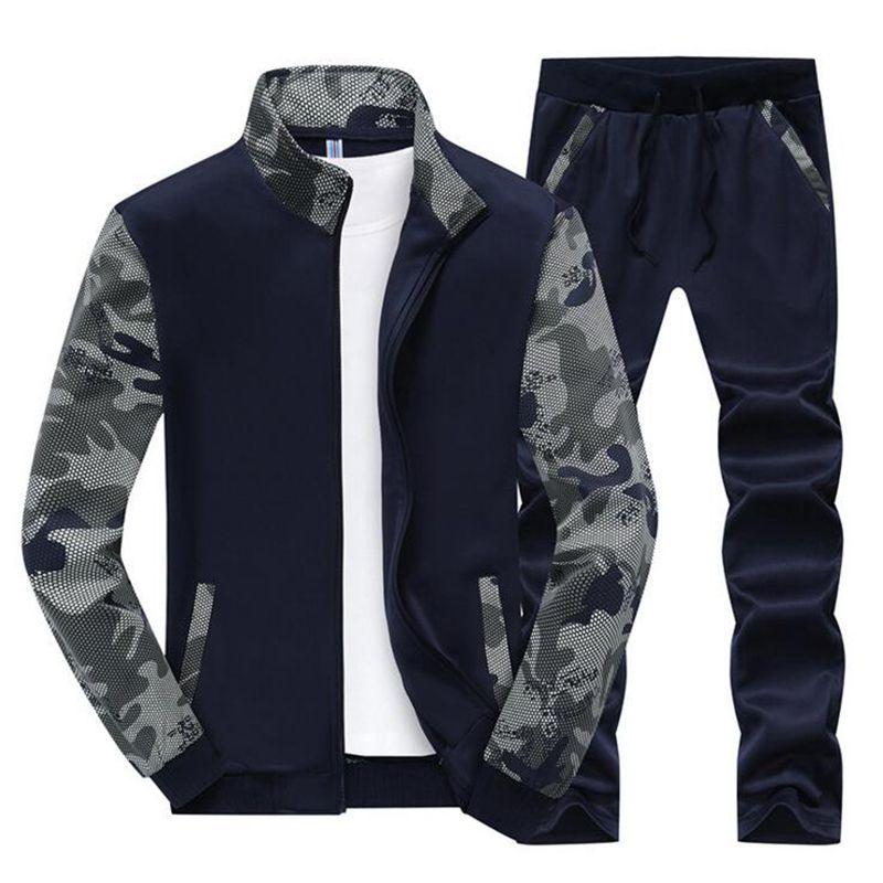 2017 Hommes Printemps Automne Sport Costumes Survêtement À Manches Longues Sportwear Extérieur courir vêtements pour Homme