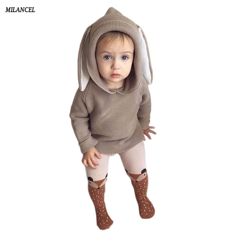 Autumn 2018 Boys Sweater 3D Rabbit Bunny Pullover Kids Girls Knitted Sweater Bunny Jumpers Baby Girls Winter Clothes