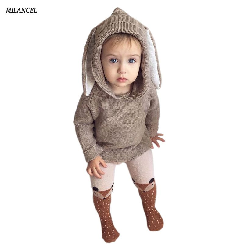 Winter 2018 Boys Sweater 3D Rabbit Bunny Pullover Kids Girls Knitted Sweater Bunny Jumpers Baby Girls Winter Clothes
