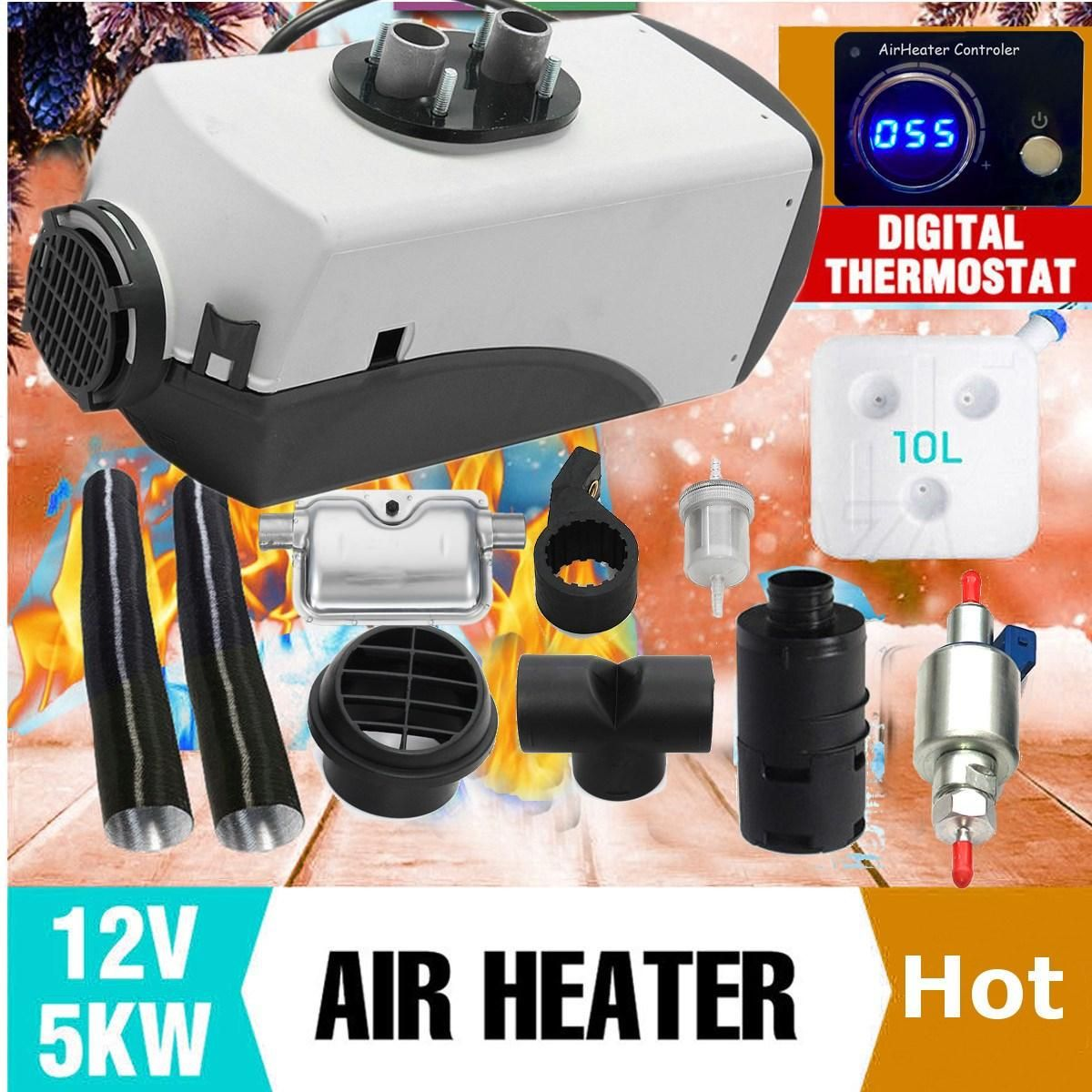 12V 5000W Thermostatic Digital Switch Air Diesel- Heater For Cars Trucks Boats Motor-Homes Air Parking Heater Easy Installation