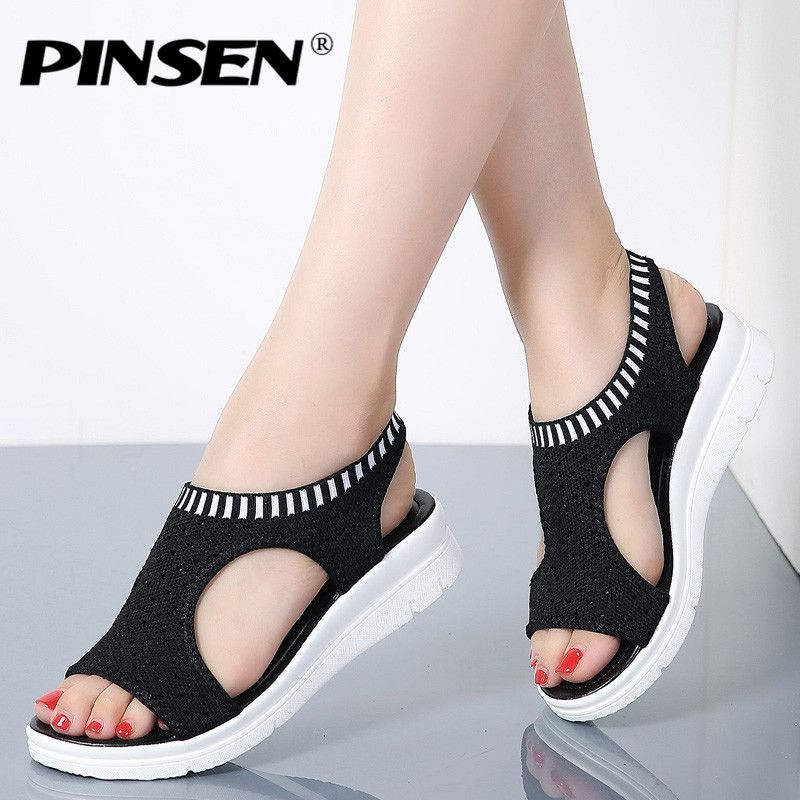 PINSEN Women Sandals 2019 New Female Shoes Woman Summer Wedge Comfortable Sandals Ladies Slip-on Flat Sandals Women Sandalias