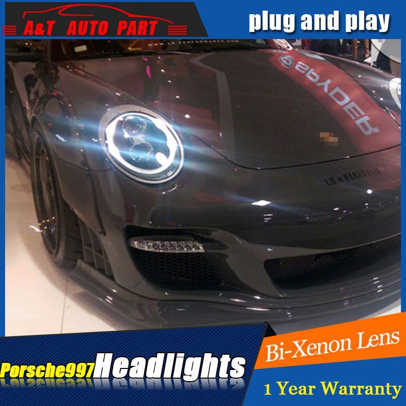 Auto styling LED Kopf Lampe für Porsche 997 serie led scheinwerfer für 997 kopf licht drl H7 hid Bi- xenon Objektiv engel auge abblendlicht