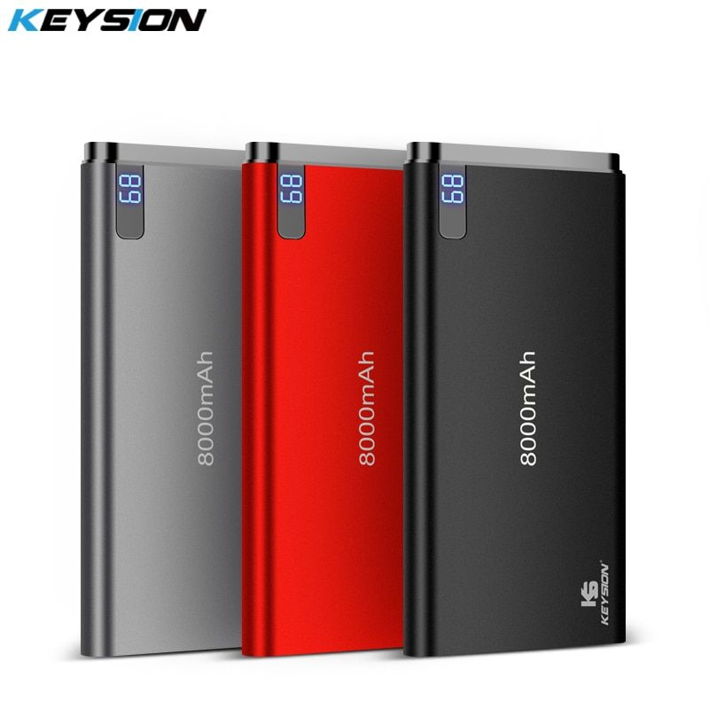 KEYSION 10mm Ultra-thin Power Bank 8000 mAh Portable External Lithium Polymer Batteries Mobile Phone Aluminium Alloy Power bank