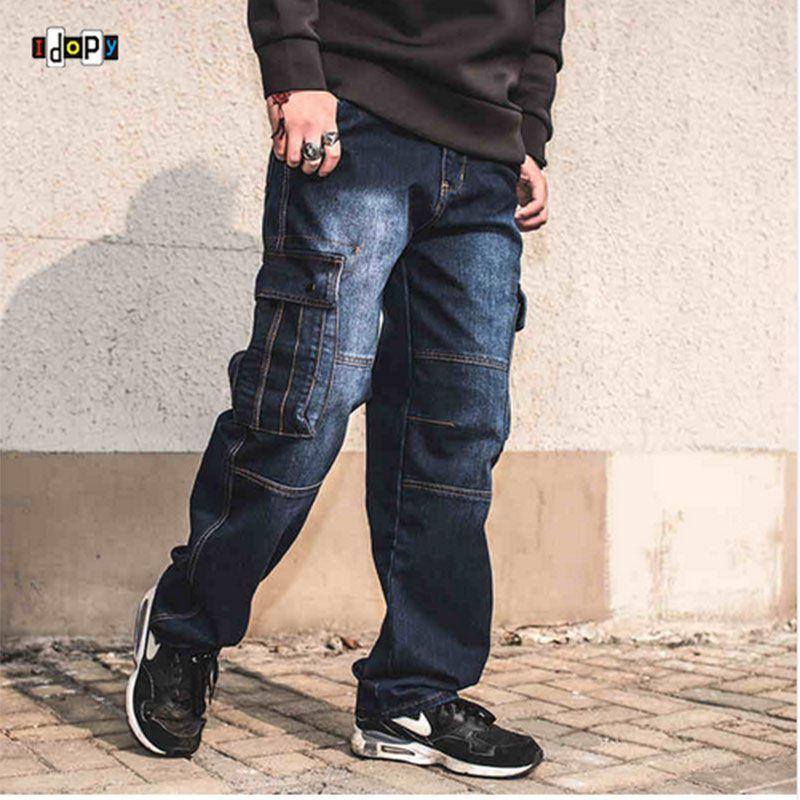 Mode Hommes de Biker Jeans Heavy Duty Multi Poches Japonais Style Loose Fit Plus Taille Cargo Denim Pantalon Pour Hipster