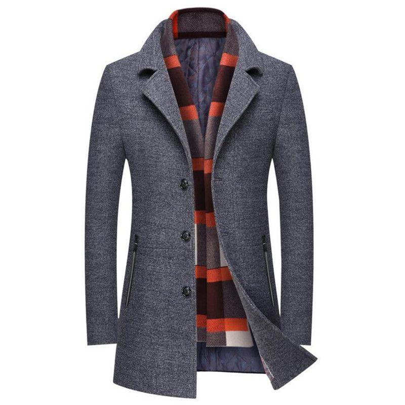 Hot autumn and winter men's jacket business casual warm men wool coat Slim Windbreaker Long section Overcoat