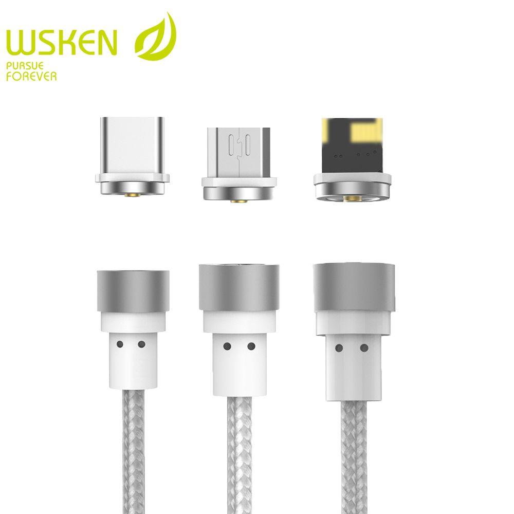 WSKEN Ronde Magnétique Câble, USB C Type C Micro Câble USB Magnétique Chargeur Mobile Téléphone Câbles Pour iPhone 7 8 X USB Câble
