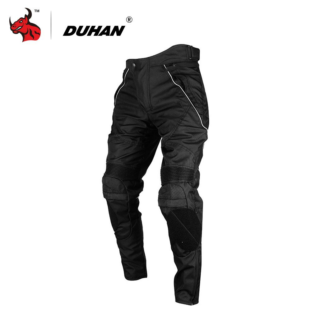 DUHAN Men's Street Racing Windproof Motorcycle Trousers Motocross Riding Sports Pants with Removable Protector Guards