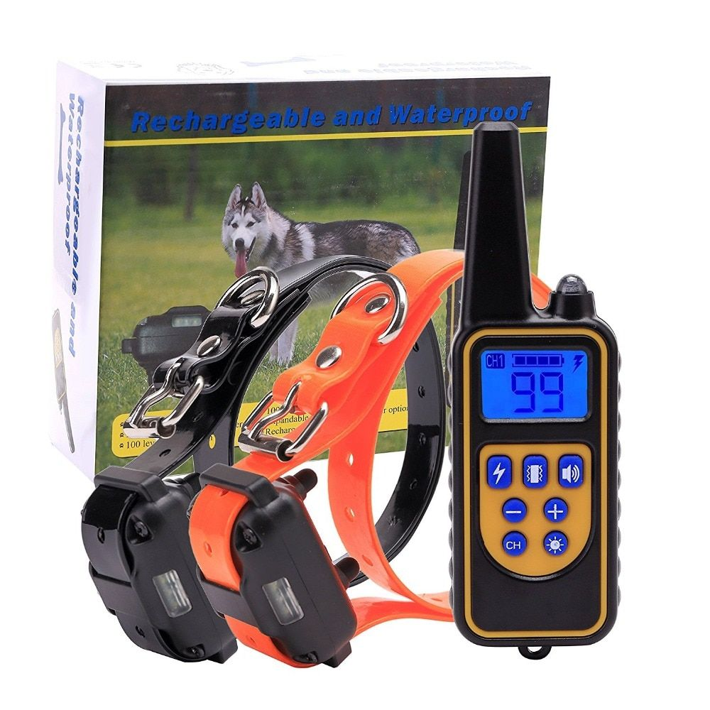 Electric Dog Training Collar 800m Pet Remote Control Waterproof Rechargeable with LCD Display for All Size Bark-stop Collars