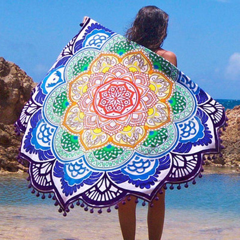 Neue Runde Strandtuch Mandala Indischen Cover Up Strand Handtuch Strandmatte Schal Yoga-Matte Sommer Brief Sarong Mantel Bade anzug