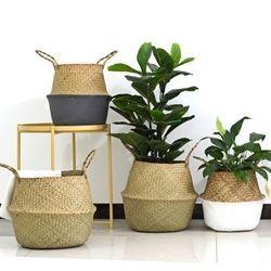 Folding Seagrass Laundry Basket Rattan Flower Basket Vase Planter Nursery Pot Belly Basket Straw Toys Organizer Home Decor