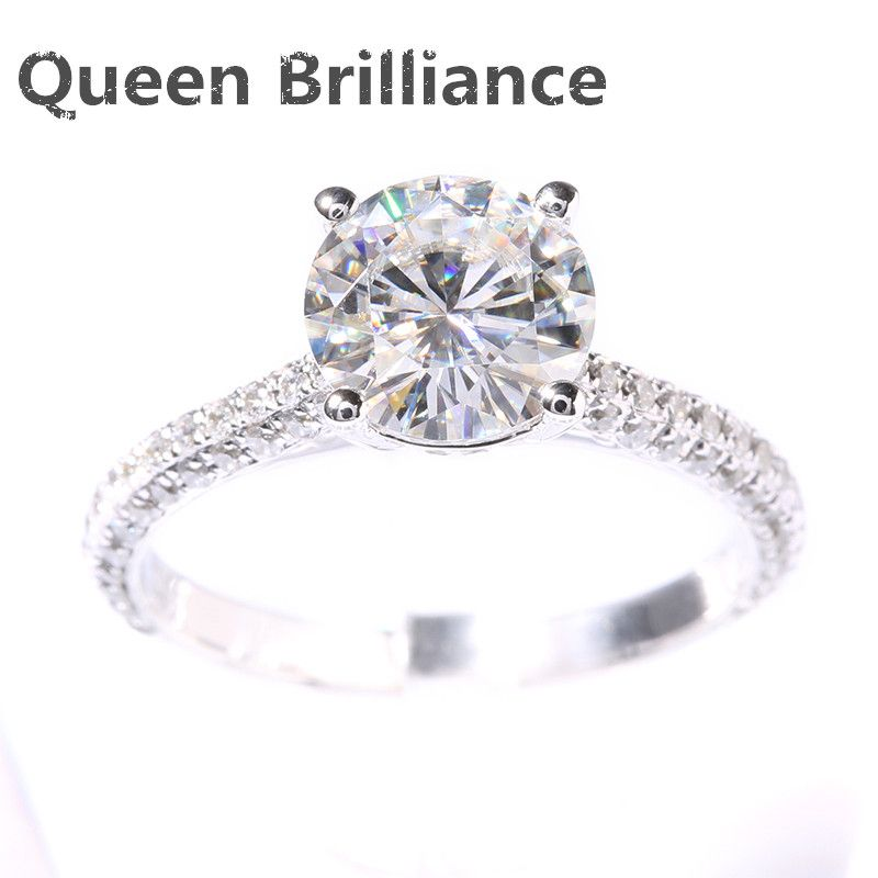New DEF 2 Carat CT Round Prongs Lab Grown Moissanite Diamond Ring With Real Diamond Accents Solid 14K 585 White Gold