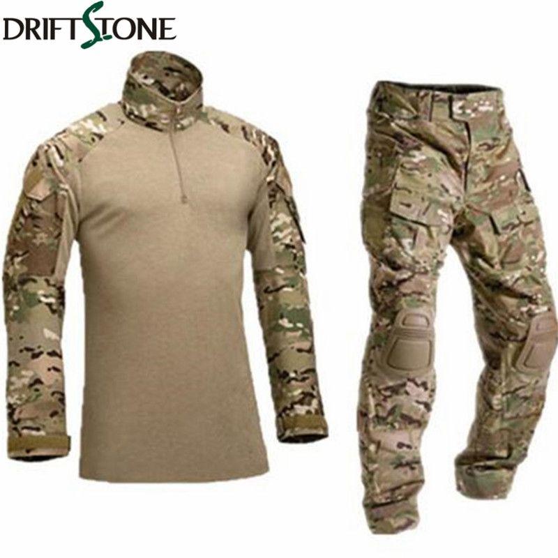Armée Militaire Uniforme Camouflage Tactique Costume de Combat Airsoft Jeu de Guerre Vêtements Shirt + Pantalon Coude Genouillères