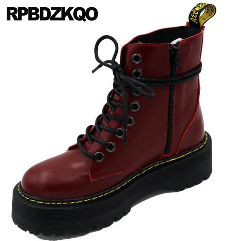 Shoes High Quality Genuine Leather Combat Autumn Brand Women Winter Boots Flat Army Wine Red Platform Lace Up Military Ankle