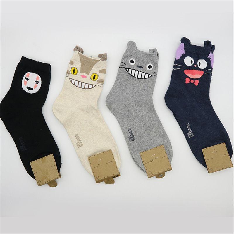 ghibli miyazaki my neighbor totoro socks women kawaii cute Spirited Away Kiki's Delivery Service cartoon print jiji 4 pairs/pack