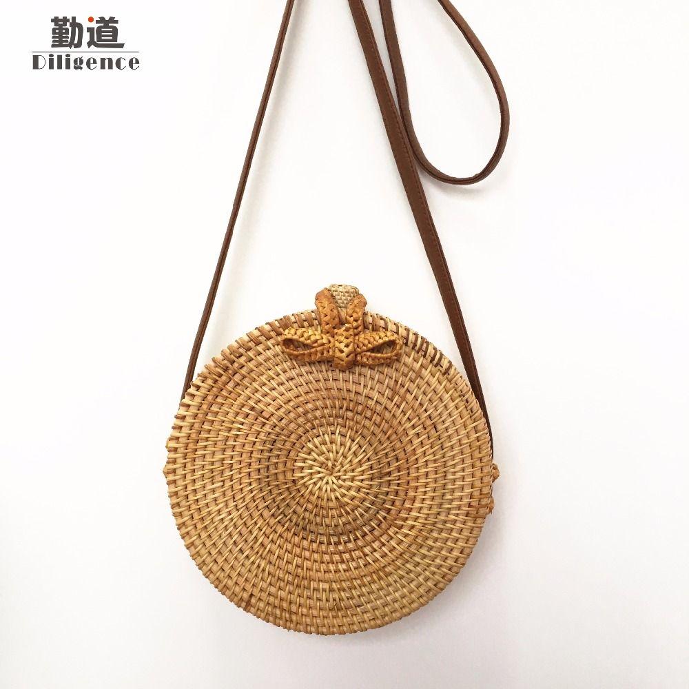 Round Straw Bags For Women Summer Beach Shoulder Bag Rattan Handmade Woven Crossbody Circle Bag Bohemia bowknot Handbags Bali