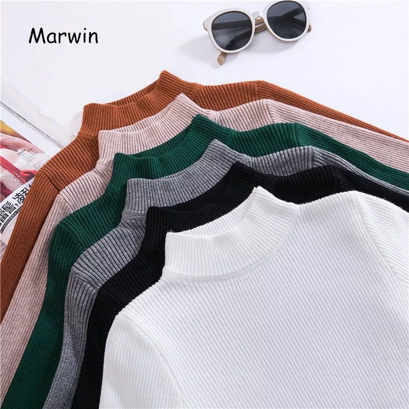 Marwin 2018 nouveau-venant automne pull à col roulé pulls apprêt chemise à manches longues court coréen Slim-fit serré chandail