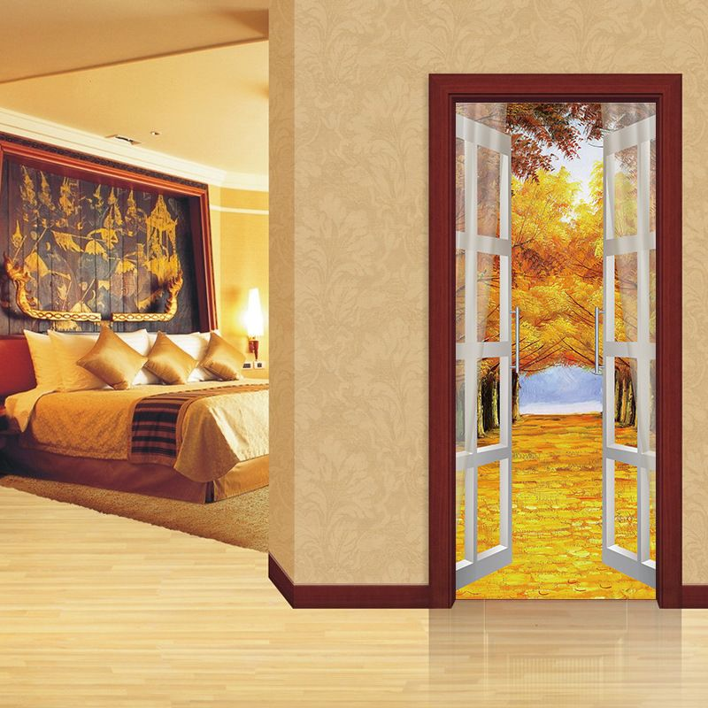 Rural Style 2 Pcs/Set DIY Mural Forest Trail Home Decor Poster 3D Door Sticker Waterproof PVC Sticker On The Door 70X200 CM