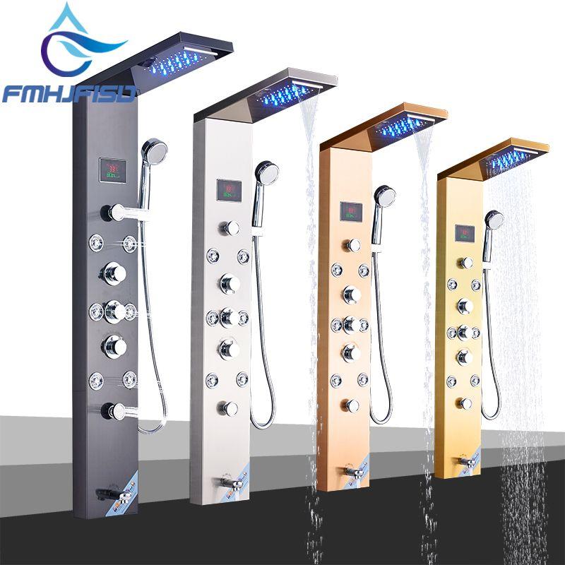 LED Bad Dusche Wasserhahn Temperatur Digital Display Dusche Panel Körper Massage System Jets Turm Dusche Spalte Wasserhahn