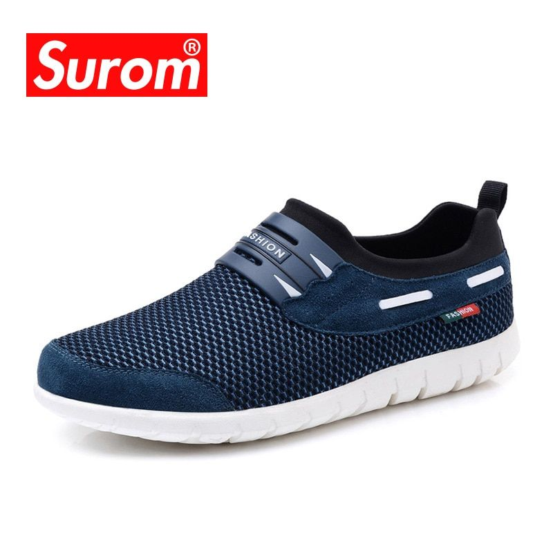 SUROM 2018 Summer Hot Sale <font><b>Boat</b></font> Shoes Men Sneakers Breathable Mesh Loafers Men Casual Shoes Krasovki Comfortable Soft Male Shoes
