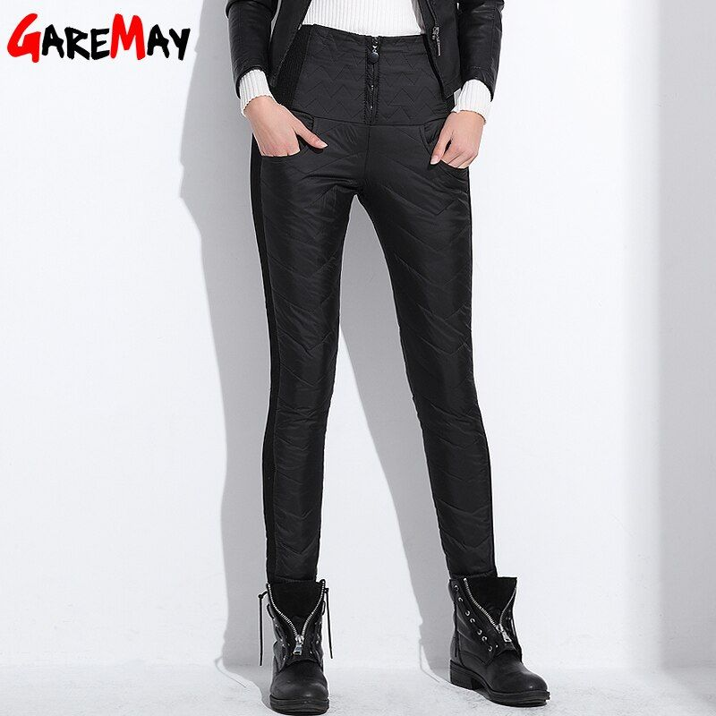 Women Winter Pant High Waist Duck Down <font><b>Warm</b></font> For Ladies Work Elegant Casual Slim Womens Formal Trousers Long Black Blue XXXL