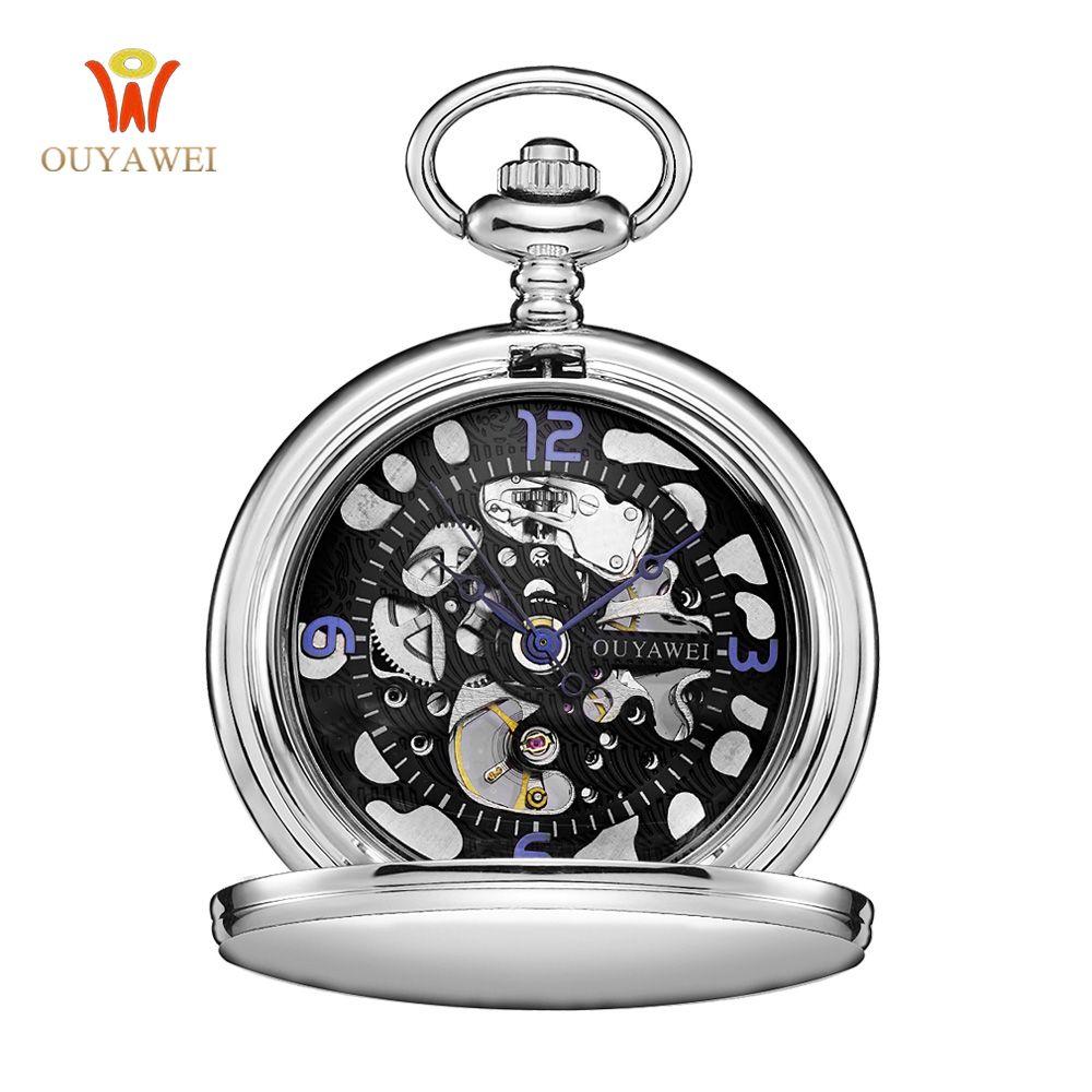 Steampunk Pocket Watch OUYAWEI New Design Luxury Brand Fashion Skeleton Watches Hand Wind Mechanical Pocket Watch Delicate Gift