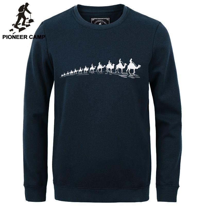 Pioneer Camp new autumn Winter fashion men hoodies casual cotton <font><b>thicken</b></font> fleece male pullover tracksuit mens crewneck sweatshirt