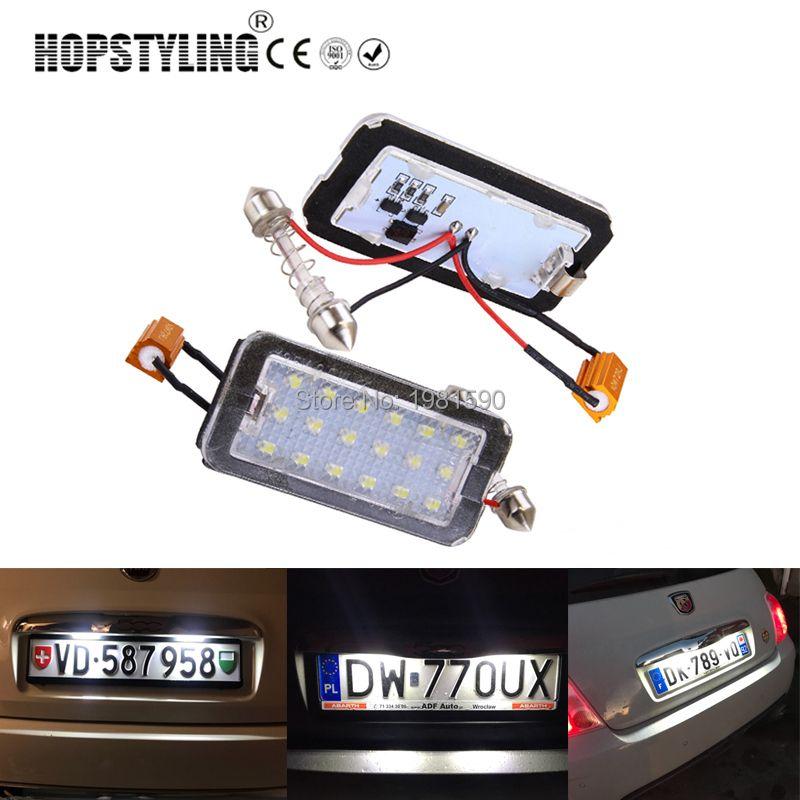 Hopstyling aucune erreur 2 pcs voiture plaque d'immatriculation lumière pour Fiat 500 500C auto remplacement LED plaque d'immatriculation lampe accessoire pièces blanc
