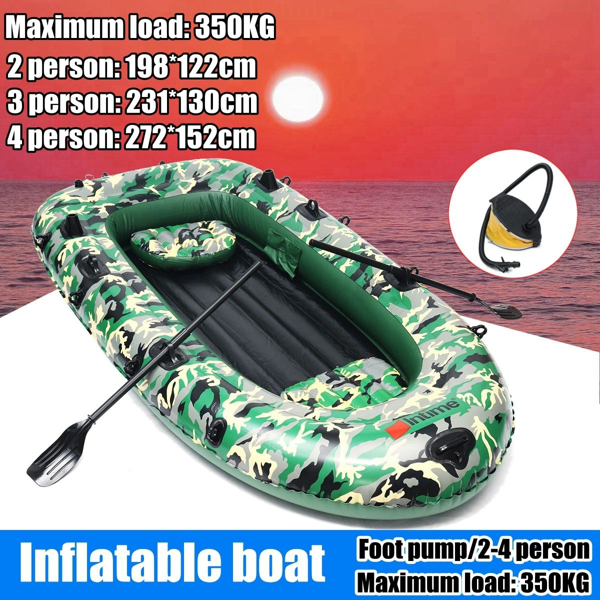 Sports fishman 2/3/4 Person PVC thick inflatable boat fishing inflatable kayak paddle pump dinghy air raft Rowing Boats